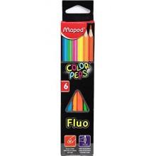 Карандаши цветные флуоресцентные Color Peps Fluo, 6 цветов, длина 175 мм