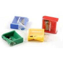 Точилка пластиковая Unit, 1 отверстие, с контейнером, ассорти (цена за 1 шт.)