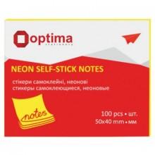 "Бумага для заметок с липким краем ""Optima"", 40×50 мм, 1 блок×100 л., желтая"