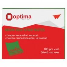 """Бумага для заметок с липким краем """"Optima"""", 40×50 мм, 1 блок×100 л., зеленая"""