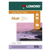 Бумага для струйной фотопечати матовая двусторонняя Lomond, А4 (210×297 мм), 170 г/м², 100 л., двусторонняя