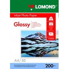 Бумага для струйной фотопечати глянцевая односторонняя Lomond, А4  (210×297 мм), 200 г/м², 50 л.