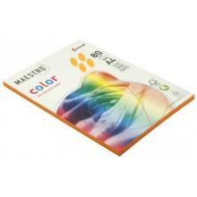 Бумага офисная цветная Maestro (формат А4 в упаковке по 100 листов), А4 (210×297 мм), 80 г/м², 100 л., оранжевая неоновая
