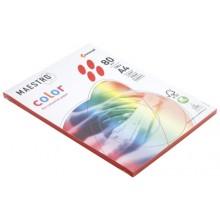 Бумага офисная цветная Maestro (формат А4 в упаковке по 100 листов), А4 (210×297 мм), 80 г/м², 100 л., кораллово-красная