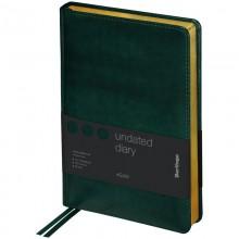 """Ежедневник недатир. A5, 160л., кожзам, Berlingo """"xGold"""", зол. срез, зеленый"""