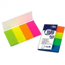 """Закладки-разделители бумажные c липким краем """"Forpus"""", 20×50 мм, 40 л.×4 цвета"""