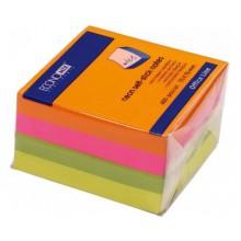 "Бумага для заметок с липким краем ""Economix"", 75×75 мм, 1 блок×400 л., 4 цвета, неон"