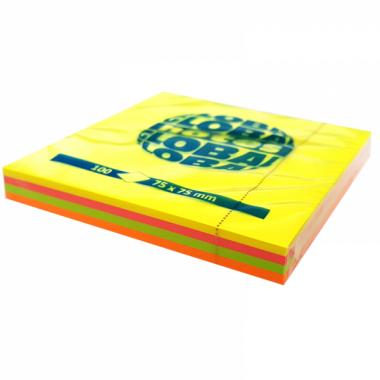 """Бумага для заметок с липким краем """"Global Notes"""", 75×75 мм, 1 блок×100 л., 4 цвета, неон"""