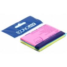 Бумага для заметок с липким краем Economix, 75×50 мм, 1 блок×100 л., 4 цвета