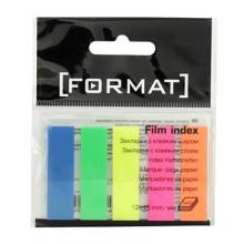 Закладки-разделители пластиковые с липким краем Format, 12×45 мм, 20 л.×5 цветов, неон