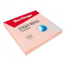 "Бумага для заметок с липким краем Berlingo ""Standard"", 76*76мм, 100л, розовый"