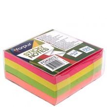 "Бумага для заметок с липким краем ""Forpus"", 75×75 мм, 1 блок×320 л., 4 цвета, неон"