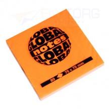 "Бумага для заметок с липким краем ""Global Notes"", 75×75 мм, 1 блок×80 л., оранжевый неон"