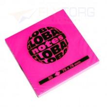 "Бумага для заметок с липким краем ""Global Notes"", 75×75 мм, 1 блок×80 л., розовый неон"