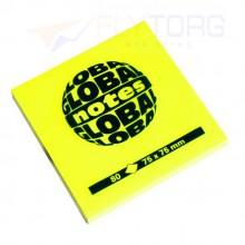 "Бумага для заметок с липким краем ""Global Notes"", 75×75 мм, 1 блок×80 л., желтый неон"