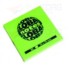 "Бумага для заметок с липким краем ""Global Notes"", 75×75 мм, 1 блок×80 л., зелёный неон"