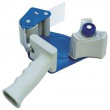 Диспенсер для клейкой ленты упаковочной Donau, для клейкой ленты шириной до 50 мм, серый с голубым