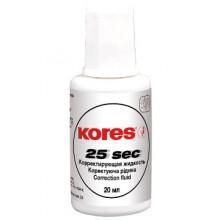 """Корректирующая жидкость """"Kores Fluid Econom"""" 20мл, на спиртовой основе, с кисточкой"""