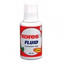"""Корректирующая жидкость Kores """"Fluid"""" 20 мл, на спиртовой основе, с кисточкой"""