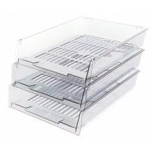 Набор из трех лотков горизонтальных «Престиж», 340×270×60 мм, прозрачный