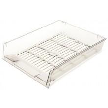 Лоток горизонтальный Юниопт «Престиж», 340×270×60 мм, прозрачный дымчатый