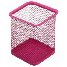 Стакан для канцелярских принадлежностей Optima, 100×80 мм, розовый