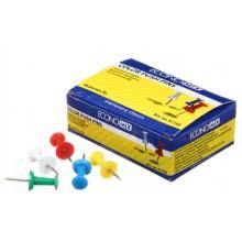 Кнопки-гвоздики с пластиковыми шляпками Economix, 23 мм, 36 шт., цветные