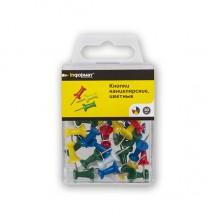 Кнопки-гвоздики с пластиковыми шляпками inФОРМАТ, 30 шт., цветные в пластиковом боксе