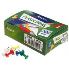 Кнопки-гвоздики с пластиковыми шляпками Forpus, 100 шт., цветные
