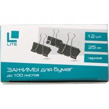 Зажим для бумаг Lite, 25 мм, до 100 л., черный