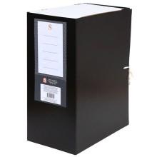 Короб архивный бумвиниловый на завязках Sponsor, 25×32 мм, корешок 140 мм, черный