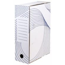 Короб архивный из гофрокартона с флексопечатью, корешок 100 мм, 322×100×240 мм, белый
