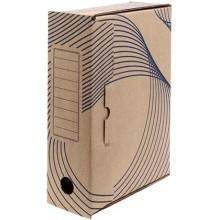 Короб архивный из гофрокартона с флексопечатью, корешок 100 мм, 320×100×240 мм, бурый