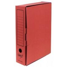 Короб архивный из гофрокартона Kris с замком, корешок 80 мм, 340×255×80 мм, красный