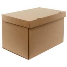 Короб архивный из гофрокартона Kris с крышкой, 500×330×310 мм, коричневый