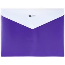 Папка-конверт пластиковая на кнопке с двумя отделениями «Вышиванка», толщина пластика 0,18 мм, фиолетовая