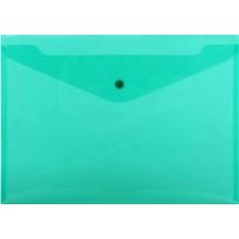 Папка-конверт пластиковая на кнопке inФормат, толщина пластика 0,18 мм, прозрачная зеленая