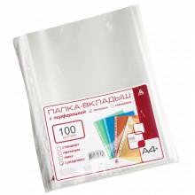 Файл А4+ перфорированный Бюрократ Суперлюкс, 100 мкм, глянцевые (цена за 1 упаковку — 100 шт.)