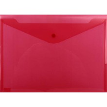 Папка-конверт пластиковая на кнопке inФормат, толщина пластика 0,18 мм, прозрачная красная