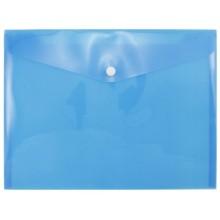 Папка-конверт пластиковая на кнопке inФормат (~А4: 280×210 мм), толщина пластика 0,18 мм, прозрачная синяя