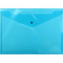 Папка-конверт пластиковая на кнопке inФормат, толщина пластика 0,18 мм, прозрачная синяя