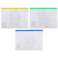 Папка-конверт пластиковая на молнии Economix, 280×210 мм, прозрачная (цвет молнии — ассорти)