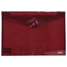 Папка-конверт пластиковая на кнопке Index, толщина пластика 0,18 мм, полупрозрачная красная
