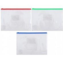 Папка-конверт пластиковая на молнии Economix, 327×240 мм, прозрачная (цвет молнии — ассорти)