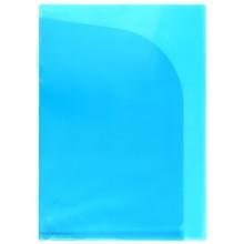 Папка-уголок пластиковая с 2 отделениями inФормат, толщина пластика 0,15 мм, прозрачная синяя