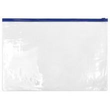 Папка-конверт пластиковая на молнии inФормат, толщина пластика 0,18 мм, прозрачная с синей молнией