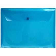 Папка-конверт пластиковая на кнопке inФормат, толщина пластика 0,15 мм, прозрачная голубая