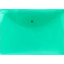 Папка-конверт пластиковая на кнопке inФормат, толщина пластика 0,15 мм, прозрачная зеленая