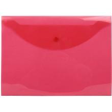 Папка-конверт пластиковая на кнопке inФормат, толщина пластика 0,15 мм, прозрачная красная