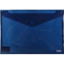 Папка-конверт пластиковая на кнопке Index, толщина пластика 0,18 мм, прозрачная синяя